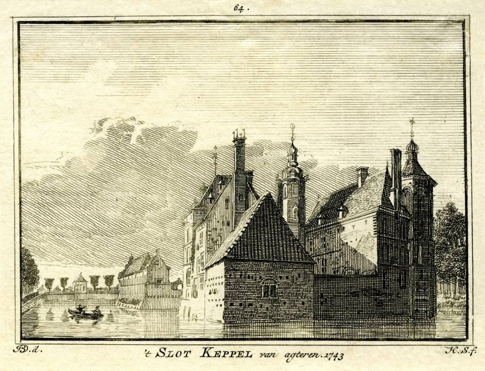 Kasteel Keppel in Laag-Keppel. Tekening Jan de Beijer, gravure Hendrik Spilman(Uit: Het Verheerlykt Nederland, Isaac Tirion, 1745/1774)